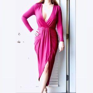 A'GACI Low Cut High-Low Long Sleeve Dress Size S